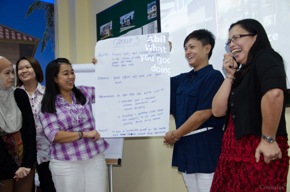 Participants presenting their thoughts on the company's brand model.