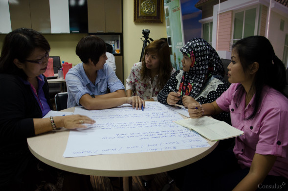 Participants discussing the details of the service experience.
