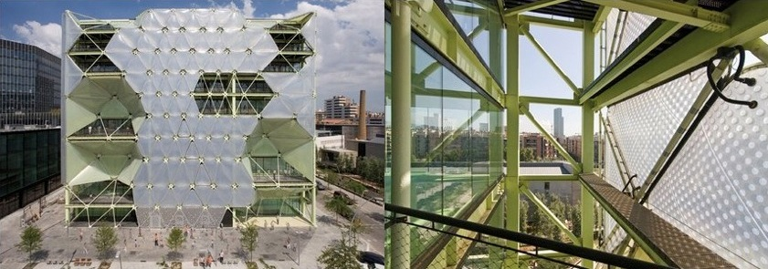 Office Space (Mixed Use). Designed by Cloud 9, Barcelona, Spain. PHOTO: Luis Ros (left), José Miguel Hernandez (right).