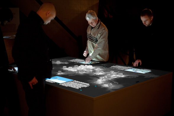 "The interactive installation ""Salt worldwide"" comprises 34 touch sensitive salt crystals spreading over a world map highlighting salt extraction areas."