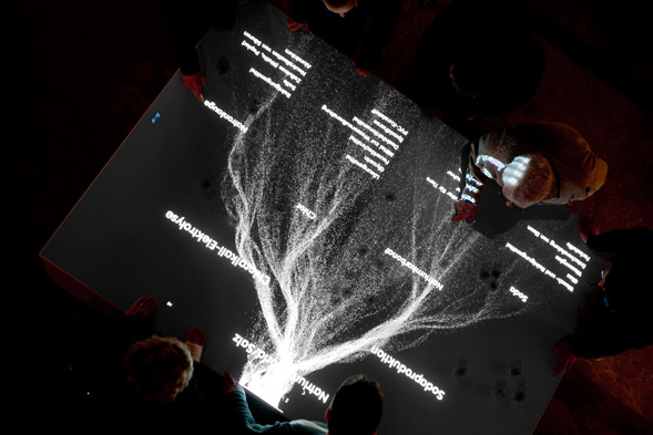 Touching the crystal triggers virtual grains of salt to pour over the installation's surface and merge into an information window, which displays details of the chosen salt mine through text, images and video.