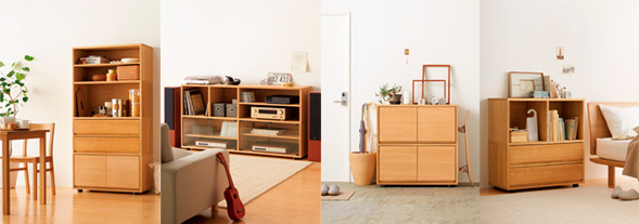MUJI stacking cabinet designed to enable people to freely stack the cabinet according to their needs.