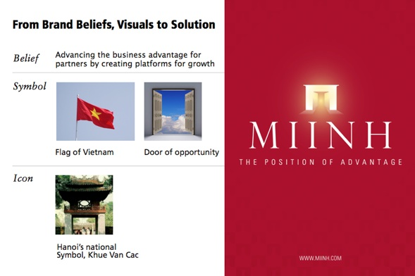 The brand beliefs and visual board which led to the design solution on the right. PHOTO CREDIT: Consulus
