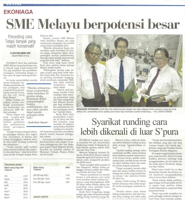Berita Harian features Consulus: Innovative consultancy firm more known outside Singapore