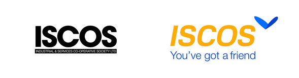 ISCOS logo, before and after.