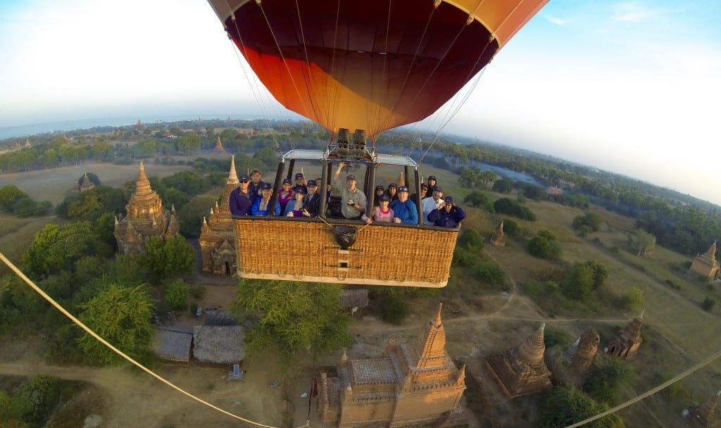 Mikael took a hot air balloon ride in Bagan, Myanmar.