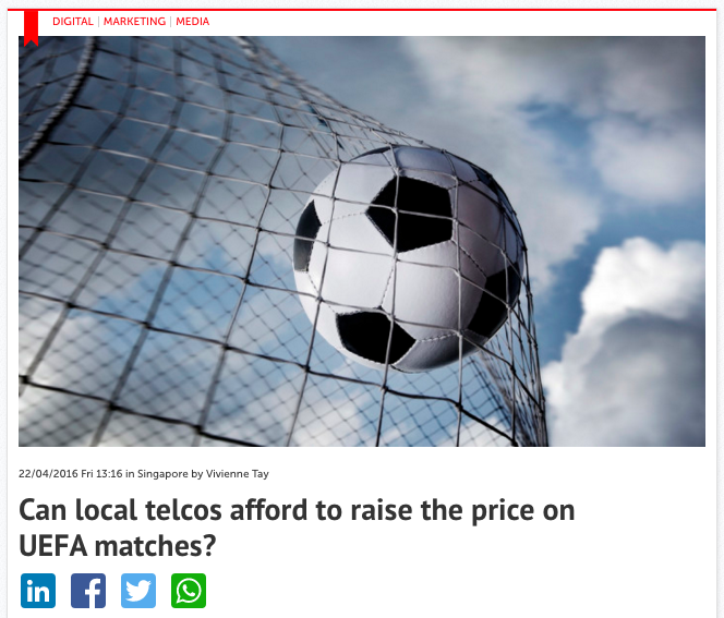 Can local telcos afford to raise the price on UEFA matches? – Consulus comments on Marketing Magazine
