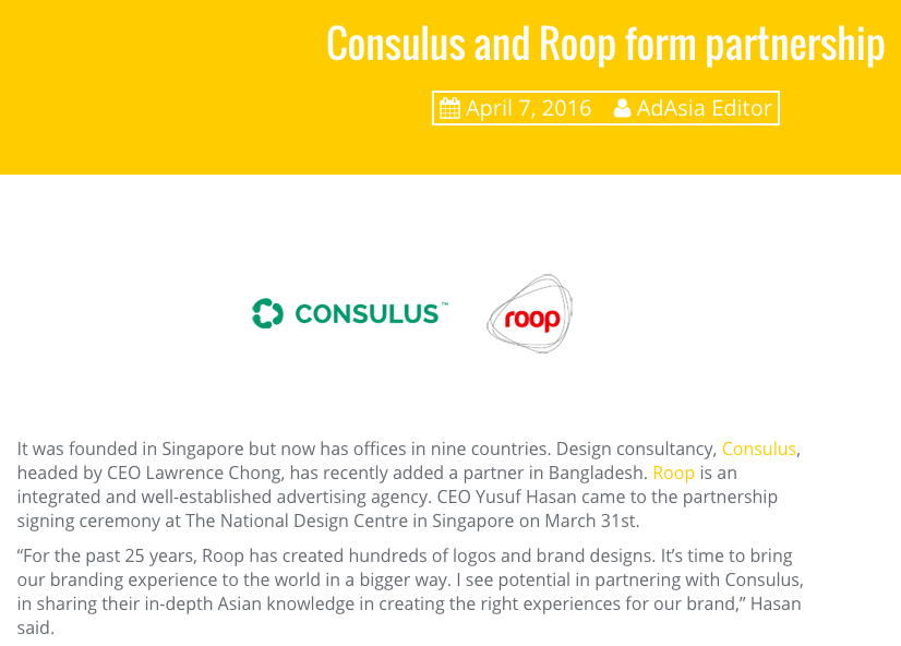Consulus partnership with Roop for Bangladesh featured in AdAsia