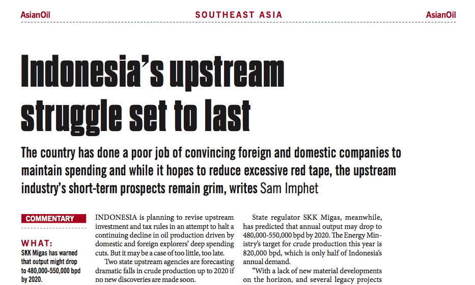 Indonesia's upstream struggle set to last – Consulus comments on NewsBase