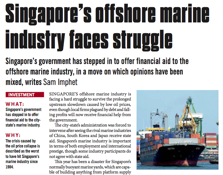 Singapore's offshore marine industry faces struggle – Consulus comments on NewsBase