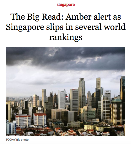 The Big Read: Amber alert as Singapore slips in several world rankings – Consulus comments on TODAY