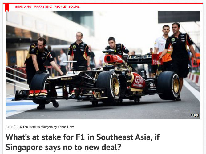 What's at stake for F1 in Southeast Asia, if Singapore says no to new deal? – Consulus comments on Marketing Interactive