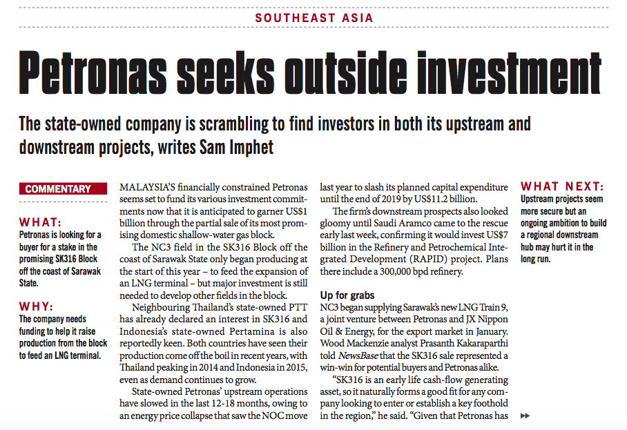 Petronas seeks outside investment – Consulus comments on NewsBase