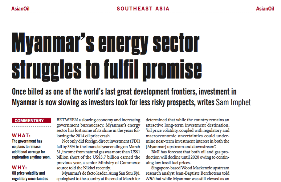 Myanmar's energy sector struggles to fulfil promise – Consulus comments on NewsBase