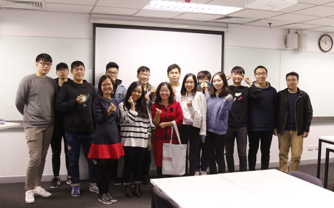 "Helena Pham sharing about ""Will Vietnamese FMCG products shape the world"" with RMIT students in Hanoi"